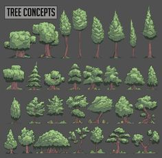 Drawing Tutorial Drawn Pine Tree pixel art 1 - 736 X 721 Digital Painting Tutorials, Digital Art Tutorial, Environment Concept, Environment Design, Game Environment, Trees Drawing Tutorial, How To Pixel Art, Cartoon Trees, Concept Art Tutorial