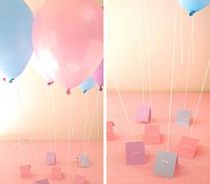 Baby Shower Idea: Balloon Placecards (in either your shower's theme or maybe ivory & gold or ivory & silver and clear)