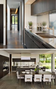 Kitchen Design Idea - Install A Stainless Steel Backsplash For A Sleek Look | A single strip of shiny stainless steel lines the backsplash of this kitchen to match the countertops and kitchen appliances.