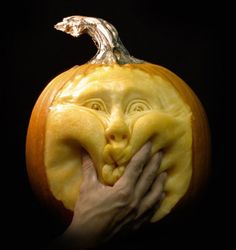 Furniture and Accessories. Funny Squeezing Face Halloween Pumpkin Carving by Villafane Studios. The Coolest Halloween Pumpkin Carvings I Have Ever Seen