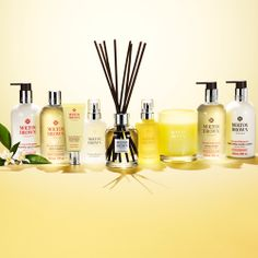 Buy hand wash, hand lotion, room spray & candles as a gift or treat for you. Molton Brown, Soap Packaging, Hand Lotion, Hand Cream, Bergamot, Diffuser, Fragrance, Orange, Yellow