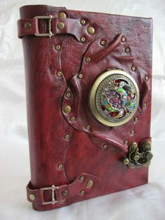 handmade large blank leather journal notebook special antique mirror design