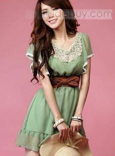Classic Laciness Chiffon Dress : Tidebuy.com