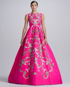 Baroque Embroidered Silk Gown, Shocking Pink by Oscar de la Renta at Neiman Marcus.  Lo quierooo!
