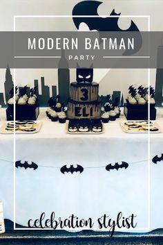Modern Monochromatic Batman Party Ideas by The Celebration Stylist Diy Birthday Themes, Disney Cars Birthday, Batman Birthday, Superhero Birthday Party, Boy Birthday Parties, 5th Birthday, Lego Batman Party, Batgirl Party, Batman Party Decorations