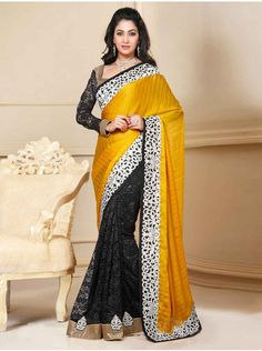Buy Black And Yellow Jute Silk Saree With Cutwork Border Designer Preyanshi Collection Online In India - saree.com