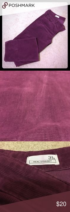 Purple corduroy pants from the Gap! Just in time for fall!  Awesomely fun purple cords! Real straight cut from the Gap.  Barely worn!  Great condition!  INSEAM: 34 inches GAP Pants Straight Leg