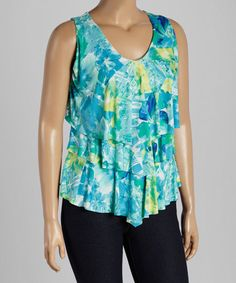 Another great find on #zulily! Green Abstract V-Neck Tiered Tank - Plus #zulilyfinds