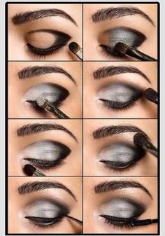 "Quick Smokey Eye!                      Hint Use A Pencil To Draw The Black ""V"" then Pat On Eyeshadow"
