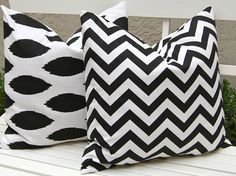 Items similar to Decorative Pillows Chevron Pillows Throw Pillow Covers, Accent Pillows 24 x 24 Inches Black Ikat and Chevron on Etsy Ikat Pillows, Accent Pillows, Decorative Throw Pillows, Cushions, Fabric Coasters, Black Chevron, Stylish Home Decor, Coordinating Fabrics, Pillow Forms