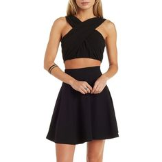 Charlotte Russe Black Love & Air Ruched Chiffon Wrap Crop Top by... ($27) ❤ liked on Polyvore featuring tops, black, criss cross crop top, black chiffon tank, black top, chiffon top и chiffon tank top