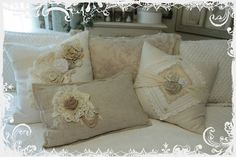SEW PILLOW IDEA!: Shabby Cottage Chic white cream flower floral lace ruffle pillows New goodies for my Bedroom