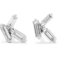 18-karat white gold diamond earrings, Women's ($1,080) ❤ liked on Polyvore featuring jewelry, earrings, white gold, diamond jewellery, post earrings, 18k earrings, 18 karat gold jewelry and suzanne kalan earrings