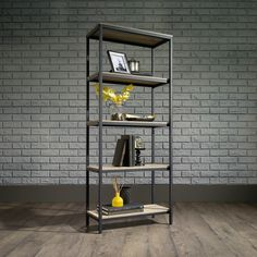 North Avenue Tall Bookcase in Charter Oak - Sauder 420277420277 Features: Open shelving for storage and displayFinished on all sides for versatile placementDurable, black metal frameCharter Oak finishFinish: SGS Non-wood FinishDimensions: x 4 Shelf Bookcase, Oak Shelves, Etagere Bookcase, Metal Bookcase, Slim Bookcase, Office Bookshelves, Small Bookcase, Corner Shelves, Home Office Furniture