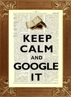 *Keep calm and google it, vintage Abbildung gedruckt auf alten Wörterbuchseiten*    Diese Vintage Darstellung ist auf einer Wörterbuchseite aus dem