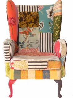 I have a vintage chair that looks just like the make of this that I was going to throw out but now I must recover it patchwork style. Funky Chairs, Colorful Chairs, Cool Chairs, Upholstered Furniture, Painted Furniture, Home Furniture, Furniture Design, Patchwork Chair, Love Chair