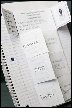 How to create an interactive vocabulary notebook. An interactive notebook helps students to efficiently organize information about new vocabulary. Vocabulary Notebook, Vocabulary Strategies, Vocabulary Instruction, Teaching Vocabulary, Vocabulary Activities, Vocabulary Words, Teaching Reading, Vocabulary Foldable, Teaching Spanish