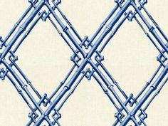 Bamboo Trellis in Blue from Brunschwig & Fils | @Kravet #fabric #linen #embroidery #lattice #blue