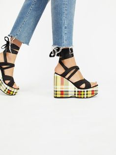 Intentionally BlankPlaid Wedges #shoes
