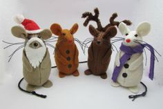 Christmas Mice Felt Mouse Felt Mice Mouse by AllThingsMice Christmas Fair Ideas, Christmas Makes, Christmas Art, Handmade Christmas Decorations, Felt Christmas Ornaments, Felt Crafts, Christmas Crafts, Felt Animal Patterns, Mouse Crafts