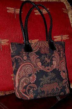 Bueno Tapestry and Black Leather Trim Shoulder Handbag 3 Sectional Tote #Bueno #ShoulderTote