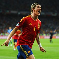 Fernando Torres [9] of Spain celebrates after scoring the third goal during the UEFA EURO 2012 final against Italy.