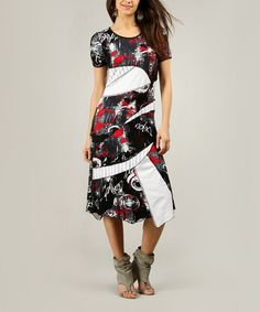 Another great find on #zulily! Black & Red Abstract Expressionist Midi Dress - Women #zulilyfinds