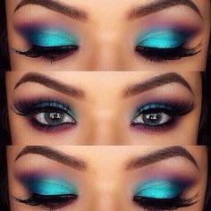 Aqua and purple eyeshadow