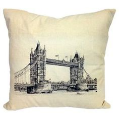 Cotton-blend pillow with a bridge motif.   Product: PillowConstruction Material: Cotton and polyesterColor: Cream and blackFeatures:   Insert includedKnife edgeReverses to solid cream backBridge design Dimensions: 20 x 20Cleaning and Care: Dry clean only