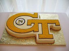 GT Georgia Tech logo cutout cake.....looks like a graduation party cake for Sam!