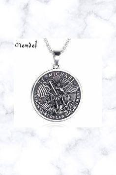 St Saint Michael Archangel Angel Medal Pendant