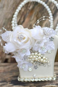 Reserved for romanticbliss --Ivory rose and pearl flower girl basket and purse Wedding Bouquets, Wedding Flowers, Flower Bouquets, Ring Pillow Wedding, Flower Girl Basket, Rings For Girls, Basket Decoration, Pearl Flower, Fabric Flowers