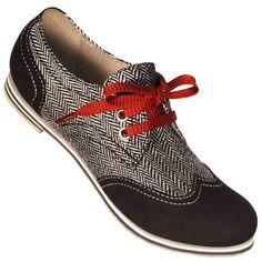 Aris Allen Women's Black & Herringbone Canvas Wingtip Dance Shoes