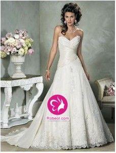 A-ligne Col en cœur Traîne mi-longue Robe de mariée en Taffetas avec Perle Dentelle Ruché(FR002196)