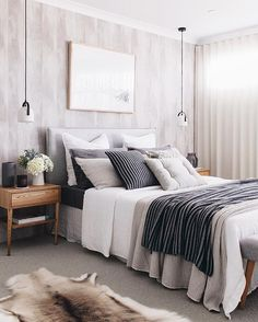 Do You Like An Ideas For Scandinavian Bedroom In Your Home? If you want to have An Amazing Scandinavian Bedroom Design Ideas in your home. Cozy Bedroom, Home Decor Bedroom, Modern Bedroom, Bedroom Ideas, Contemporary Bedroom, Bedroom Furniture, Furniture Makeover, Entryway Decor, Master Bedroom