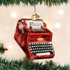Red Typewriter Ornament