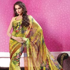 Yellow and Brown Faux Georgette Saree with Blouse