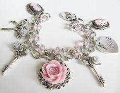 Charm bracelet jewelry charms pink bracelet gift by romanticcrafts, $21.99