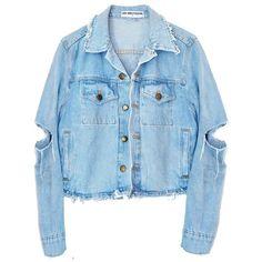 TROUBLE MAKER DENIM JACKET (450 RON) ❤ liked on Polyvore featuring outerwear, jackets, blue jean jacket, blue jackets, jean jacket, distressed jean jacket e blue denim jacket