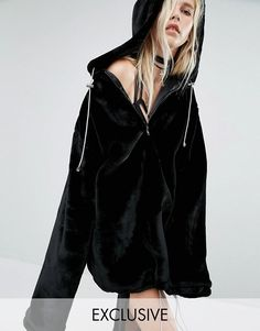 Story Of Lola | Story Of Lola Extreme Oversized Hoodie Coat In Faux Fur