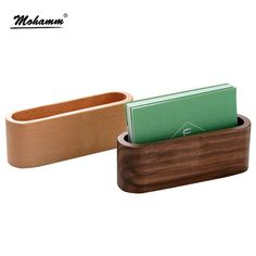 Large Capacity Desktop Quality Wooden Business Card Case Office Accessories School Supplies Stationery