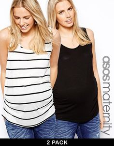 ASOS Maternity Exclusive Breton Stripe Vest 2 Pack SAVE 11%