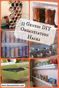 33 Genius DIY Organization Hacks---Love the decoration storage idea. Organisation Hacks, Organizing Hacks, Hacks Diy, Diy Organization, Diy Organizer, Diy Hanging Shelves, Floating Shelves Diy, Wine Bottle Crafts, Jar Crafts