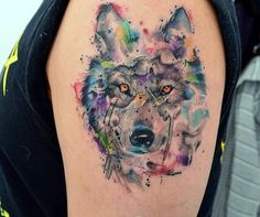 acuarela, beautiful, and wolf image