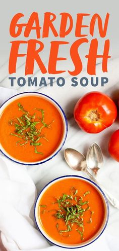 Healthy Recipes : Illustration Description This Garden Fresh Tomato Soup is a simple and delicious way to enjoy summer's bounty. Use whatever kinds of tomatoes you have on hand–it will come out great, regardless! Fresh Tomato Soup, Vegan Tomato Soup, Cream Of Tomato Soup, Fresh Tomato Recipes, Recipe Of Tomato Soup, Fresh Stewed Tomatoes Recipe, Tomato Tomato, Vegetarian Recipes Easy, Healthy Recipes