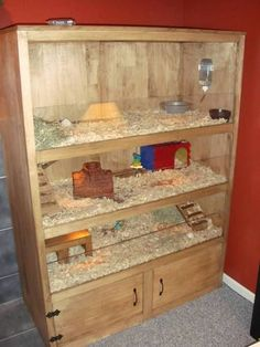 Piggies new home - Guinea Pig Cage Photos, for the less handy, buy a shelving unit and attach a ridge and plexiglass