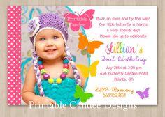 Butterfly Birthday Invitation  DIY Printable by printablecandee, $10.00