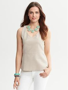 Houndstooth V-Back Shell | Banana Republic
