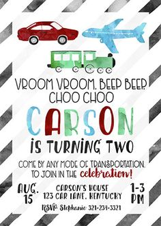 Transportation Party Invitation Planes Trains by CherryBerryDesign