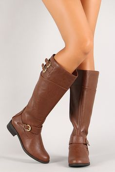 Triple Buckle Knee High Riding Boot